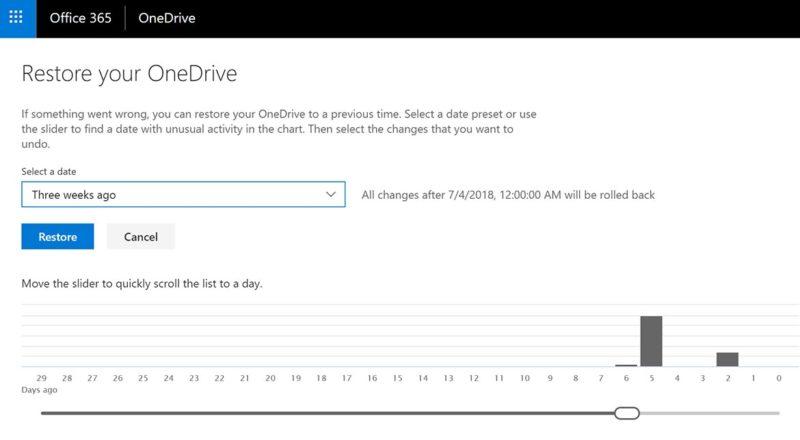 OneDrive File Restore Feature