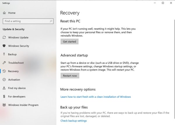 Recovery app in Windows 10